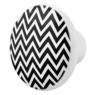 Chevron blanco y negro pomo de cerámica