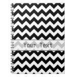 Chevron blanco y negro - texto de encargo libreta espiral