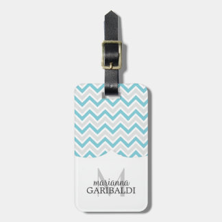 Chevron Blue and Modern Personalized Bag Tags
