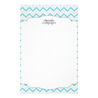 Chevron Blue and Modern Personalized Stationery