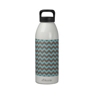 Chevron Blue Curacao And Coffee Brown Drinking Bottle
