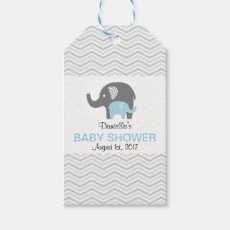 Chevron Blue Elephant Baby Shower Tag