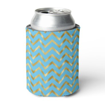 Beach Themed Chevron blue gold pattern girly can cooler