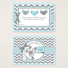 Chevron Blue Owl Diaper Raffle Ticket at Zazzle