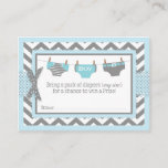 Chevron Blue Owl Diaper Raffle Ticket Enclosure Card