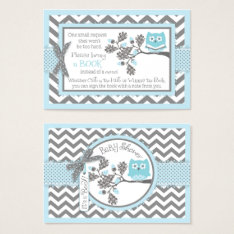 Chevron Blue Owl Read A Book Card at Zazzle