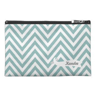Chevron Blue Pattern Designer Name Make Up Bag! Travel Accessories Bags