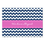 Chevron Blue Pink Elopement Announcement Cards