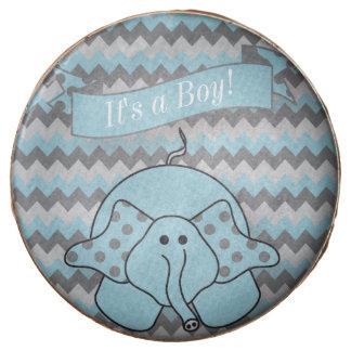Chevron Blue Striped Cute Cartoon Elephant Chocolate Covered Oreo