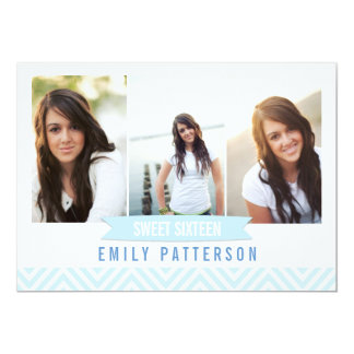Chevron Blue | White Sweet 16 Photo Birthday Party Card