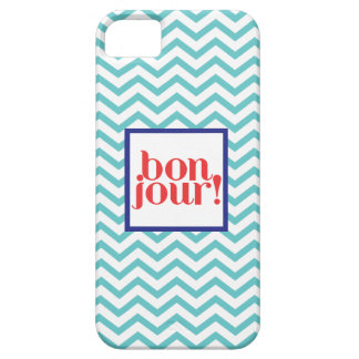 """Chevron """"Bonjour!"""" in Aqua with Blue and Red iPhone SE/5/5s Case"""