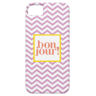 """Chevron """"Bonjour!"""" in Aqua with Lavender and Coral iPhone SE/5/5s Case"""
