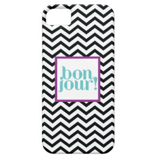 """Chevron """"Bonjour!"""" in Black with Turquoise iPhone SE/5/5s Case"""
