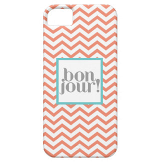 """Chevron """"Bonjour!"""" in Coral with Turquoise iPhone SE/5/5s Case"""
