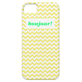 """Chevron """"Bonjour!"""" in Yellow and White with Mint iPhone SE/5/5s Case"""