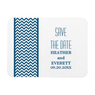Chevron Border Save the Date Magnet, Blue Magnet