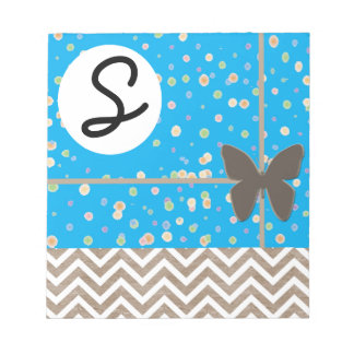 Chevron Brown Butterfly Blue Notepad Template
