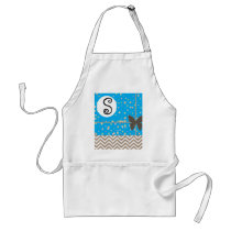 Chevron Brown  Monogram Butterfly Apron Template