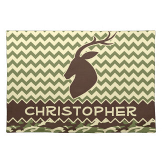 Chevron Buck Camouflage Personalize Cloth Placemat
