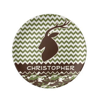 Chevron Buck Camouflage Personalize Dinner Plate