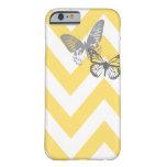 Chevron Butterflies iPhone 6 case   Yellow Grey iPhone 6 Case