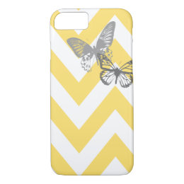 Chevron Butterflies iPhone 7 case | Yellow Grey