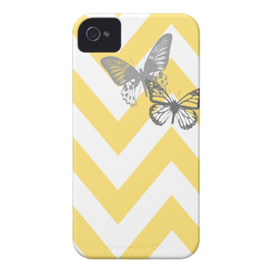 Chevron Butterflies Iphone Case   Yellow Grey