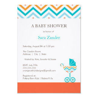 Chevron Carriage Baby Shower Invitation     Boy