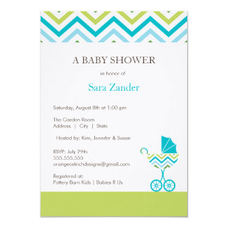 "Chevron Carriage Baby Shower Invitation  |  Boy 5"" X 7"" Invitation Card"