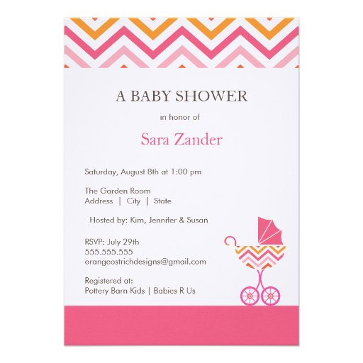 chevron carriage baby shower invitation girl 5 x 7 invitation c