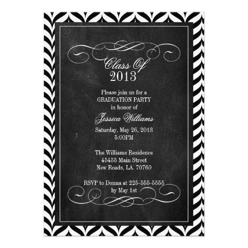 Chevron Chalkboard Graduation Personalized Invites