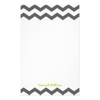 Chevron Charcoal Gray Zigzag Stripes Personalized Stationery
