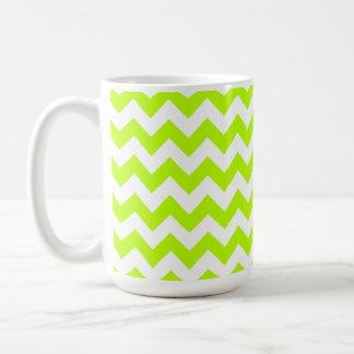 Chevron chartreuse; zigzag taza de café