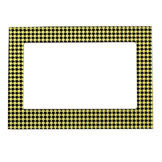 Chevron Checks Yellow and Black Magnetic Photo Frame