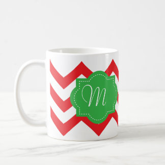 Chevron Chic Holiday Monogram Mug