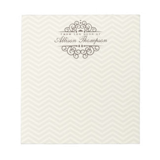 Chevron Chic Personalized Desk Notepad | Beige