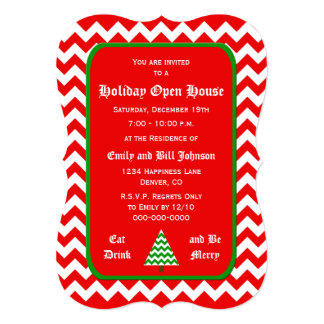 Chevron Christmas Open House Invitations