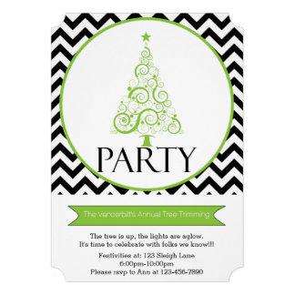 Chevron Christmas Tree Trimming Party Invitation Custom Invitation
