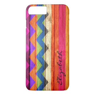 Chevron coloreado madera raya el vintage funda iPhone 7 plus