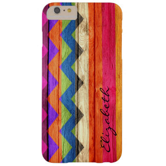 Chevron coloreado madera raya el vintage funda para iPhone 6 plus barely there