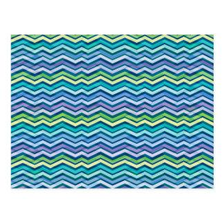 Chevron coloreado y acodado multi tarjeta postal