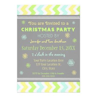 Chevron Colorful Christmas Party Invitation Card