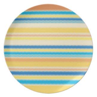 Chevron Colorful Zigzag Stripe Decorative Melamine Plate