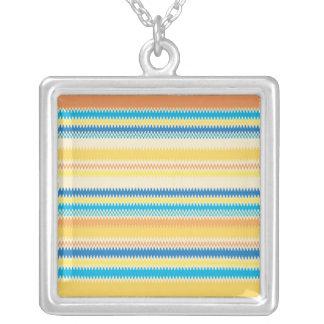 Chevron Colorful Zigzag Stripe Decorative Silver Plated Necklace