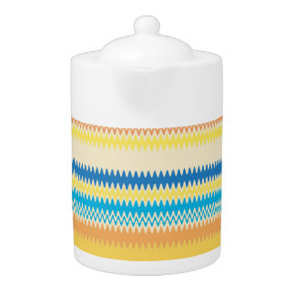 Chevron Colorful Zigzag Stripe Decorative Teapot