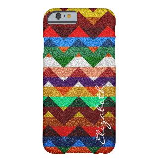 Chevron colorido de cuero raya el monograma #17 funda para iPhone 6 barely there