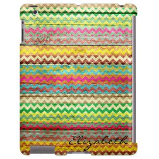 Chevron colorido de madera raya el monograma funda para iPad