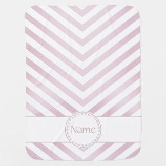 Chevron con monograma en rosa del invierno - manta mantas de bebé