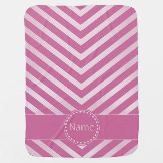 Chevron con monograma en rosa del invierno - manta manta de bebé