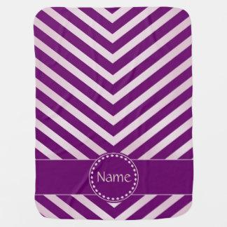 Chevron con monograma en rosado y la púrpura - manta de bebé